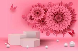 rosa Blume und Schmetterlinge im Papierschnittstil vektor