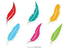 Vektor uppsättning av färgglada fjädrar
