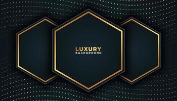 schwarzer Luxushintergrund mit goldenen Punkten und Sechsecken vektor
