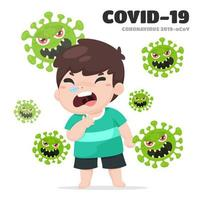 hosta pojke med coronavirus vektor