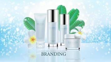 kosmetische Produktanzeigen auf blauem klarem Hintergrund
