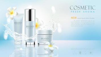 Ställ in kosmetisk produkt på blå bakgrund