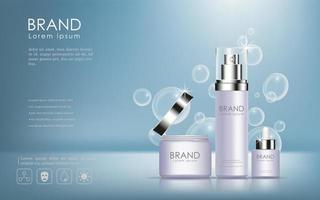 Kosmetikprodukte Anzeige mit Blasenhintergrund