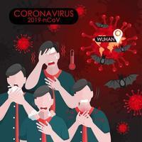 koronavirussymptom med virus och fladdermöss vektor