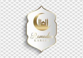 eleganter Ramadan Kareem Hintergrund in Weiß und Gold