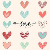 Hand gezeichnete Herzen Valentinstag Liebe Gruß vektor