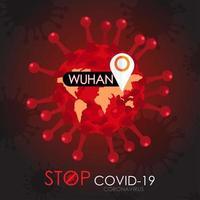 Stoppen Sie das Covid-19-Poster mit der Viruszelle