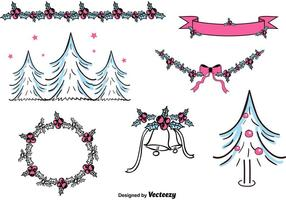 Freie Hand gezeichnete Weihnachtsdekorationen vektor