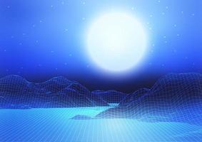 abstrakte Drahtgitterlandschaft mit Mond und Sternenhimmel vektor