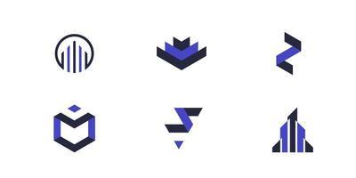 uppsättning blå och svart logotypuppsättning