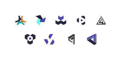 uppsättning minimalistiska geometriska logotyper vektor