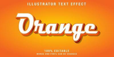 bearbeitbarer kursiver Texteffekt in Weiß und Orange vektor