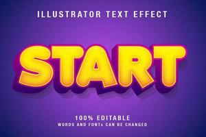 bearbeitbarer Texteffekt in Gelb und Lila vektor