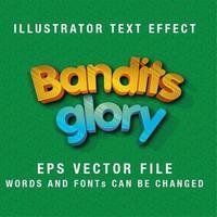 glänzend gebogener bearbeitbarer Texteffekt vektor