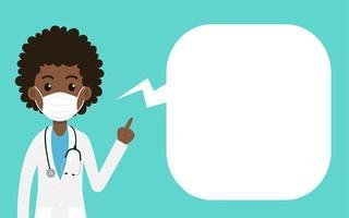 kvinnlig läkare som bär skyddsmask vektor