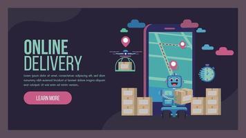 leveransservice målsida med robot och drone vektor