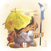 tiger kinesiska zodiaken djur tecknad
