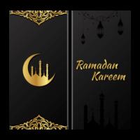 Ramadan Kareem Gold und Schwarz Banner Set vektor