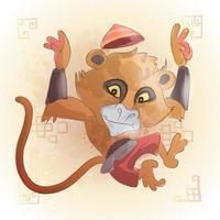Affe chinesischer Tierkreis Tierkarikatur