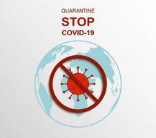 tecken för karantän och stoppande covid-19-virus