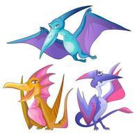 söta små flygande dinosaurier tecknad uppsättning