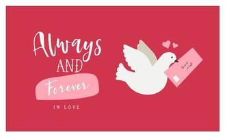 Valentinstag Grußkarte mit Taube und Liebesbrief