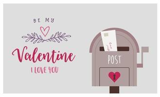 alla hjärtans dag gratulationskort med postbox vektor