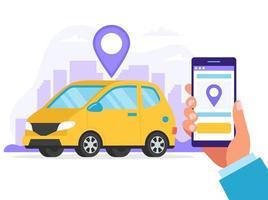 Hand hält Smartphone für eine Fahrt