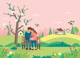Frühlingslandschaft mit liebendem Paar, das auf Bank sitzt