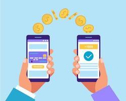 Hände halten Smartphones und senden Geld