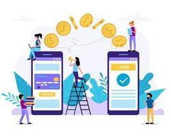 små människor som skickar pengar via smartphone