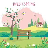 hej vårlandskap med bänk och blomstrande träd