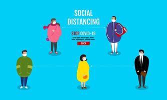 Gruppe von Charakteren, die soziale Distanzierung üben