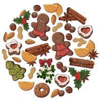 uppsättning av handritade julföremål och godis
