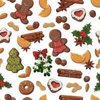 nahtloses Muster von Weihnachtssüßigkeiten, Früchten und Nüssen