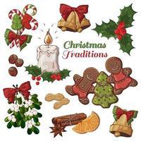 bunte Illustrationen von Weihnachtsartikeln einschließlich Kerze