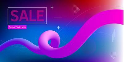 Verkaufsfahne mit Korkenzieherform auf geometrischem Hintergrund