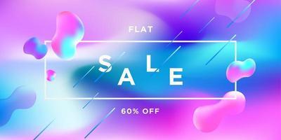 rosa und blaue Farbverlauf flüssige Formen Verkaufsfahne