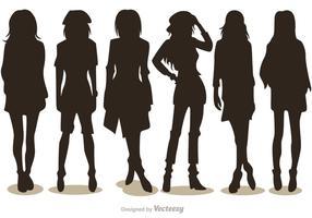 Silhouette Mode Mädchen Vektoren Pack 2