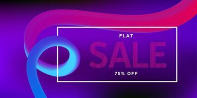 Verkaufsfahne mit rosa und blauer lockiger Form