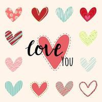 älskar dig text med handritade hjärtan