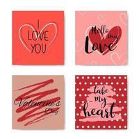 alla hjärtans dag handbokstäver fras kortuppsättning