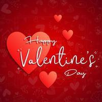 '' glücklicher Valentinstag '' Text auf gemustertem Hintergrund vektor