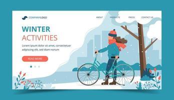 flicka håller cykel i parken på vintern landningssida vektor