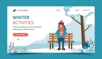 Mädchen auf Bank im Winter mit Kaffee Landing Page