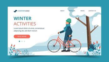 man med cykel i park i vinterlandningssida vektor