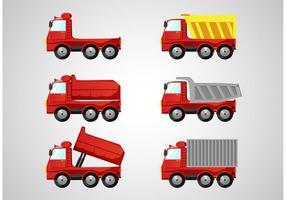 Packbilar med röda dumperbilar