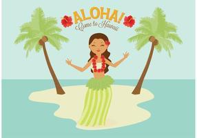 Free Polynesian Hula Weibliche Tänzer Vektor