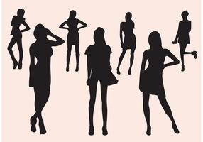 Free Vektor Mädchen Silhouette gesetzt