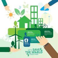 Hände helfen bei umweltfreundlichen Aufgaben